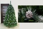 Biely umelý vianočný stromček so striebornými šiškami.