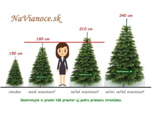 výška umelých vianočných stromčekov