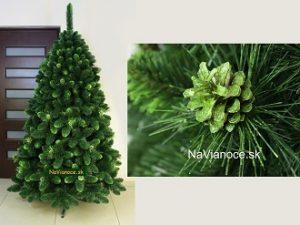 vianočné stromčeky so zelenými šiškami