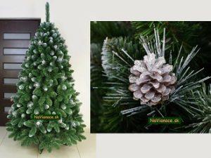 strieborne vianočné stromčeky so šiškami
